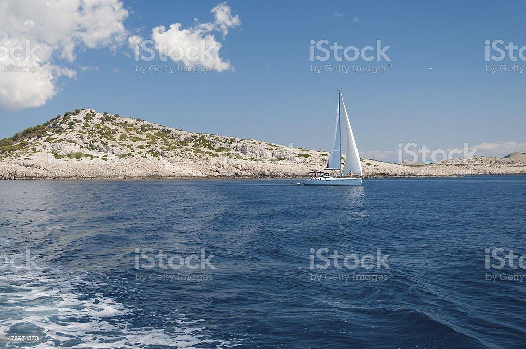 White Sailboat, Kornati National Park, Croatia royalty-free stock photo
