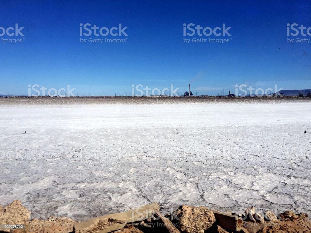 White salt and blue sky stock photo