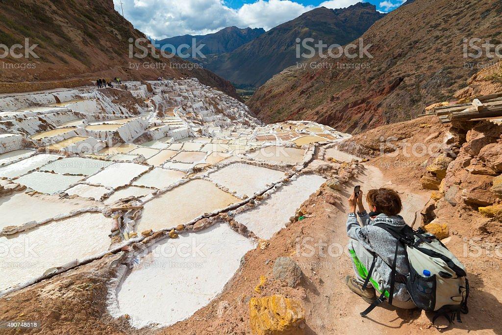 White salt basins on the Peruvian Andes stock photo