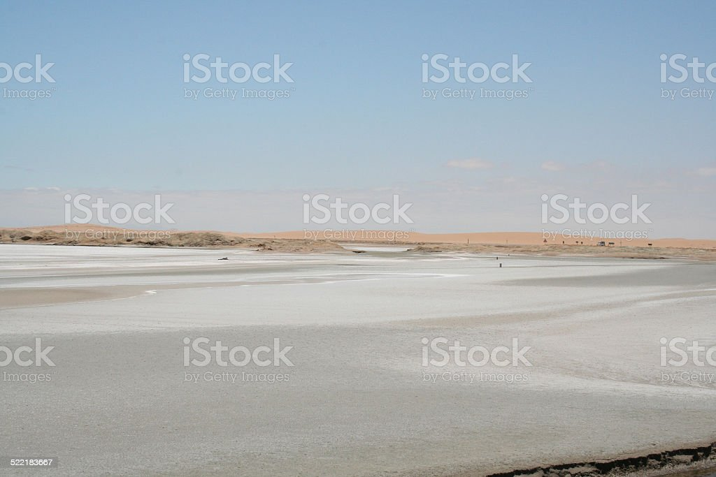 White Salt evaporation ponds with red Microorganisms, Swakopmund, Namibia stock photo