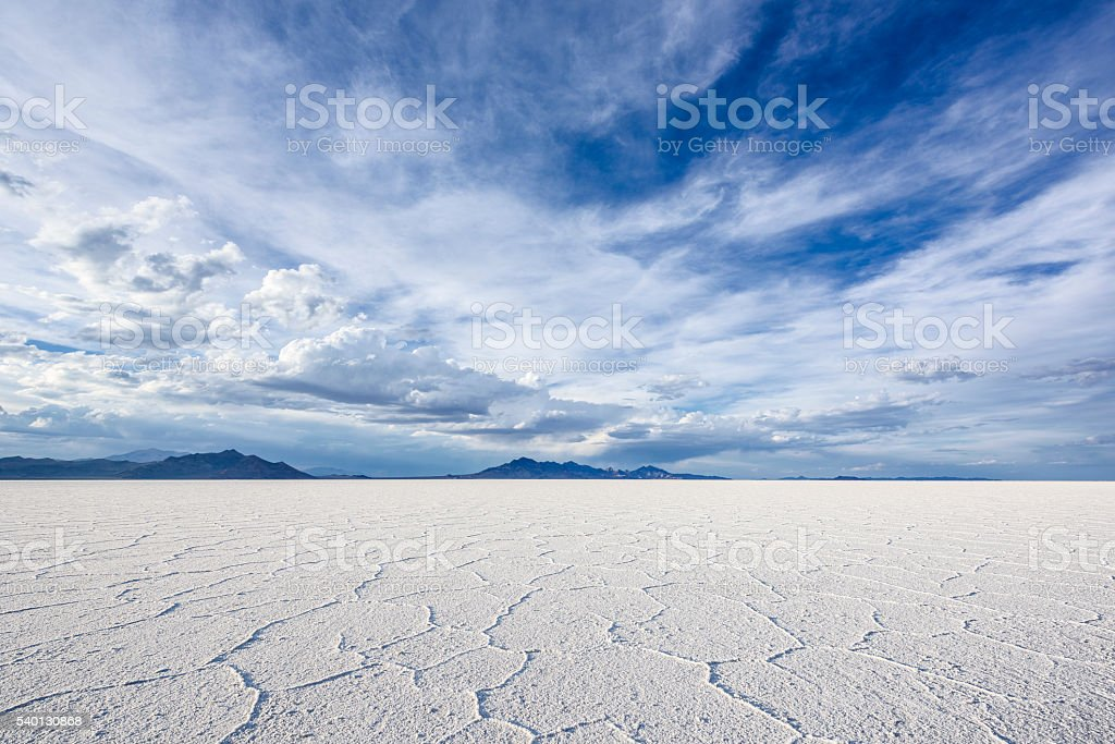 White Salt Flats near Salt Lake City, Utah stock photo