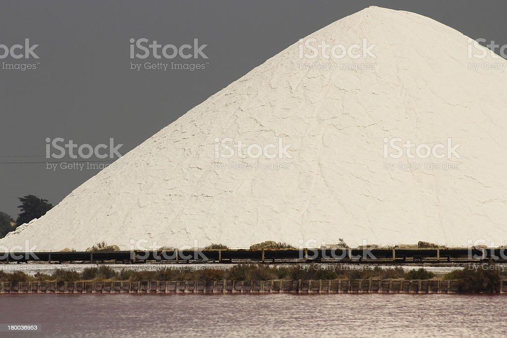 White salt mountain and red water royalty-free stock photo