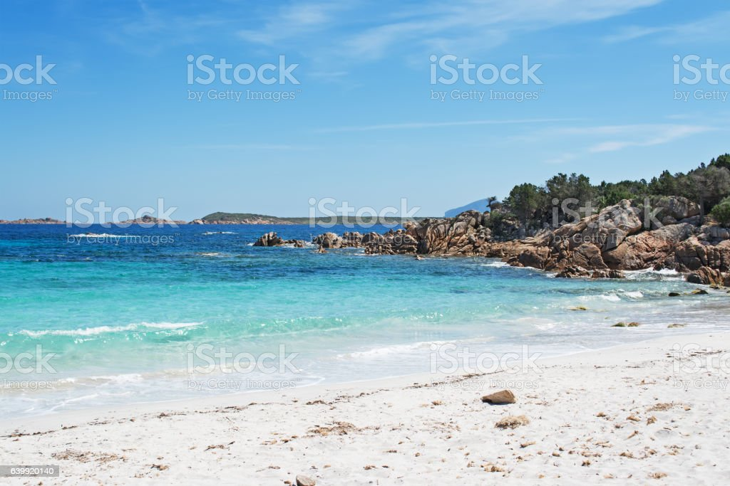 white sand and turquoise sea stock photo