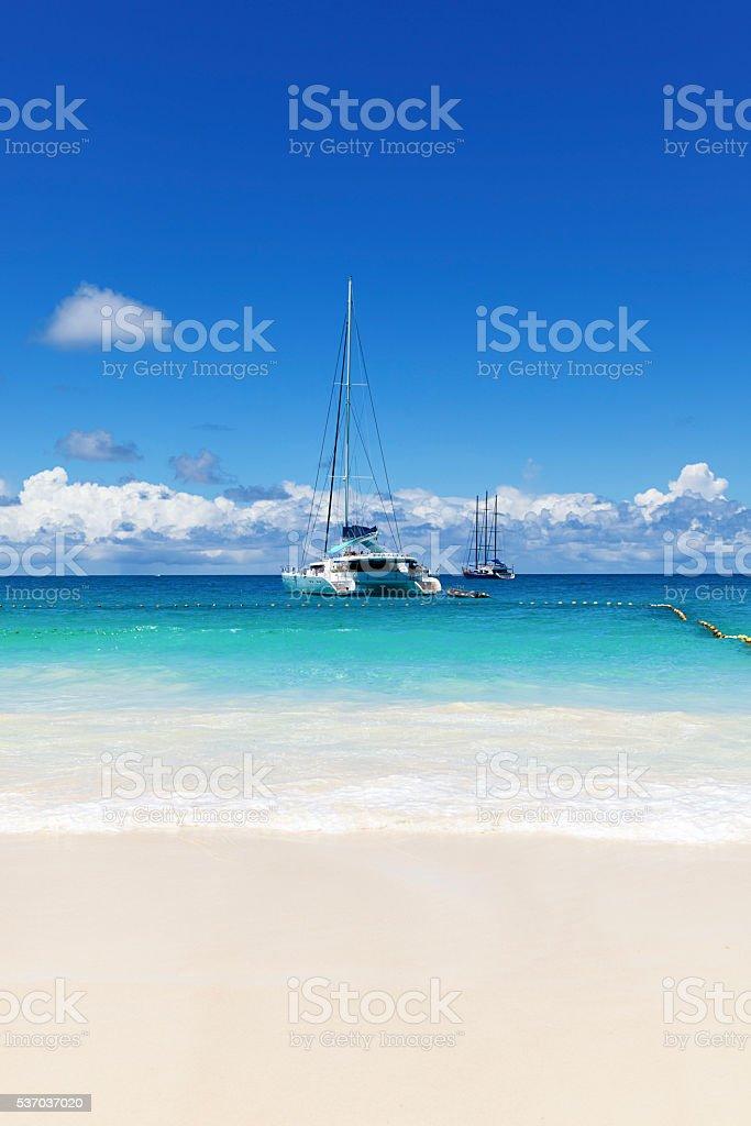 white sand beach and catamaran stock photo