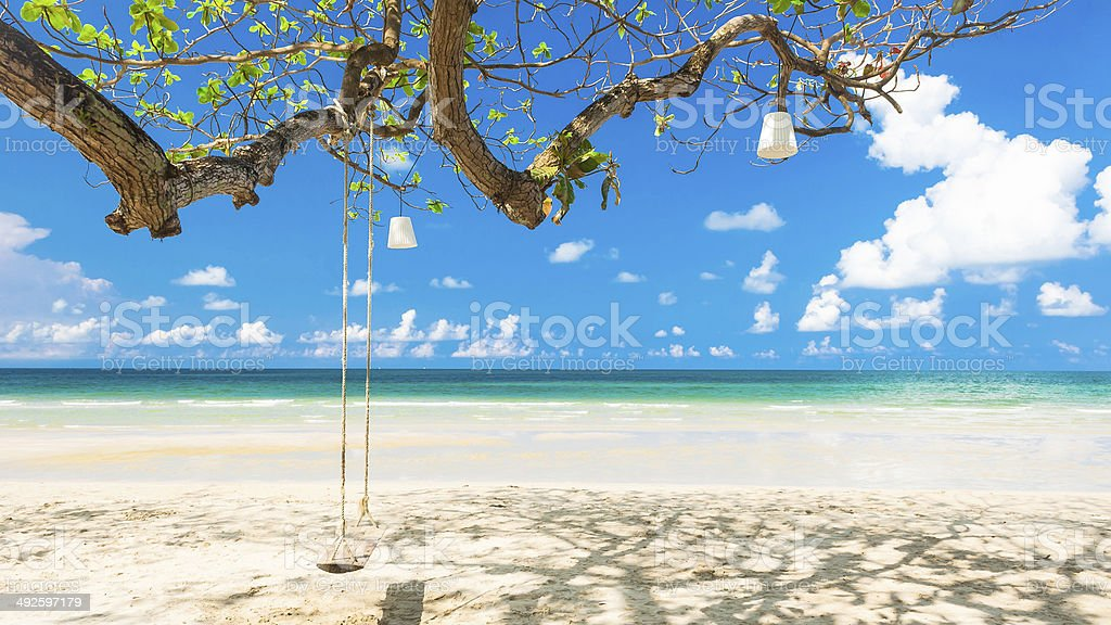 White sand beach at Koh Chang Island,Thailand stock photo