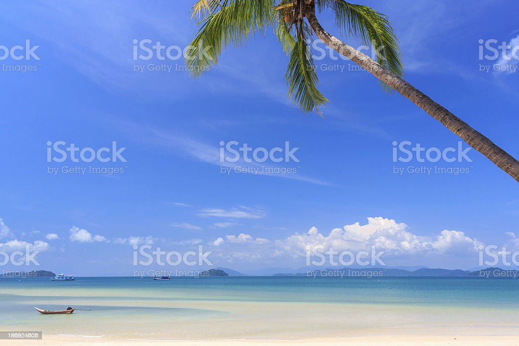 White sand beach at tropical island royalty-free stock photo