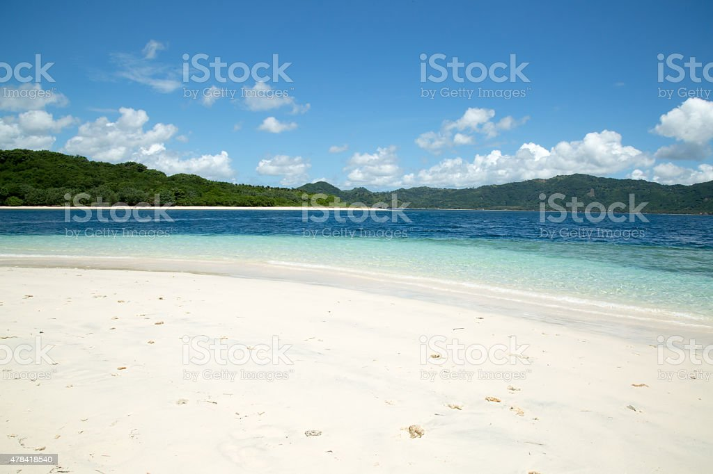 White sand beach crystal clear sea water and blue sky stock photo