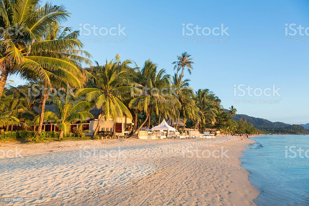 White sand beach in Koh Chang stock photo