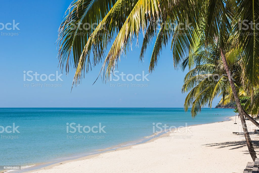 White sand beach in Koh Chang, Thailand stock photo