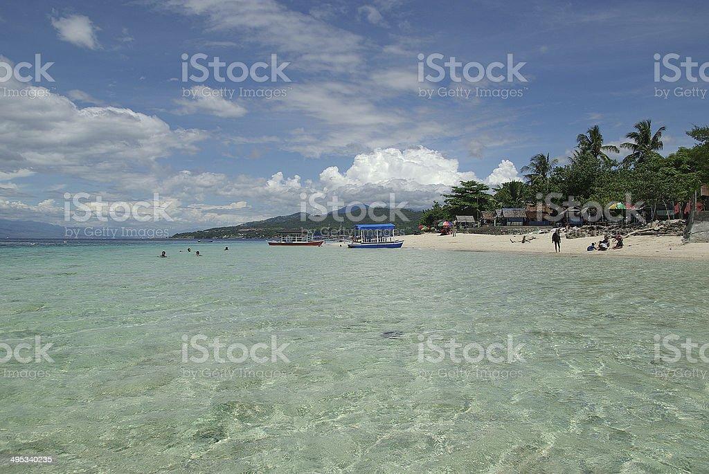 White sand beach in the Makassar Strait, Sulawesi stock photo