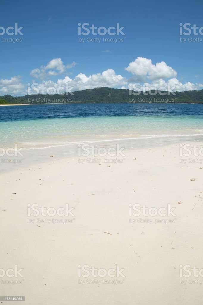 White sand beach on Indonesia Island stock photo