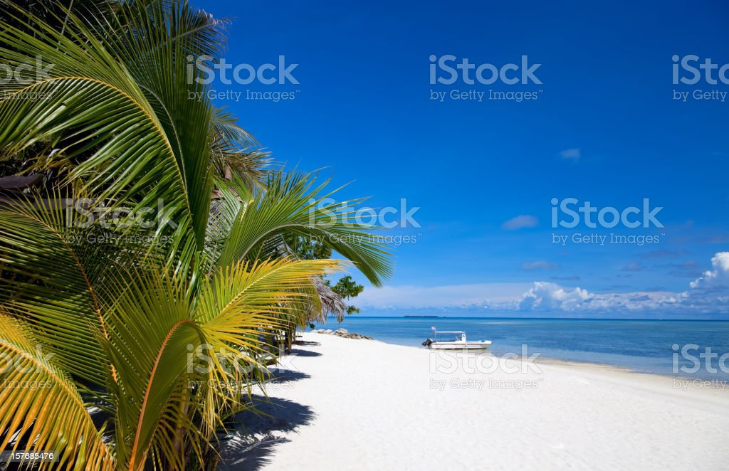 White sand beach on Mabul island, Sipadan, Borneo Malaysia stock photo