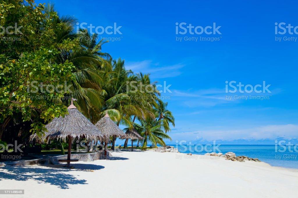 White sand beach on Mabul island, Sipadan, Borneo Malaysia royalty-free stock photo