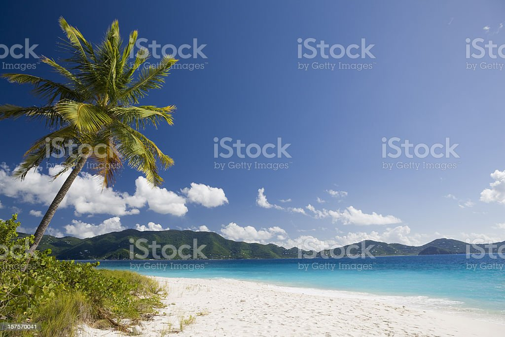 white sand beach on tropical island in the Caribbean royalty-free stock photo