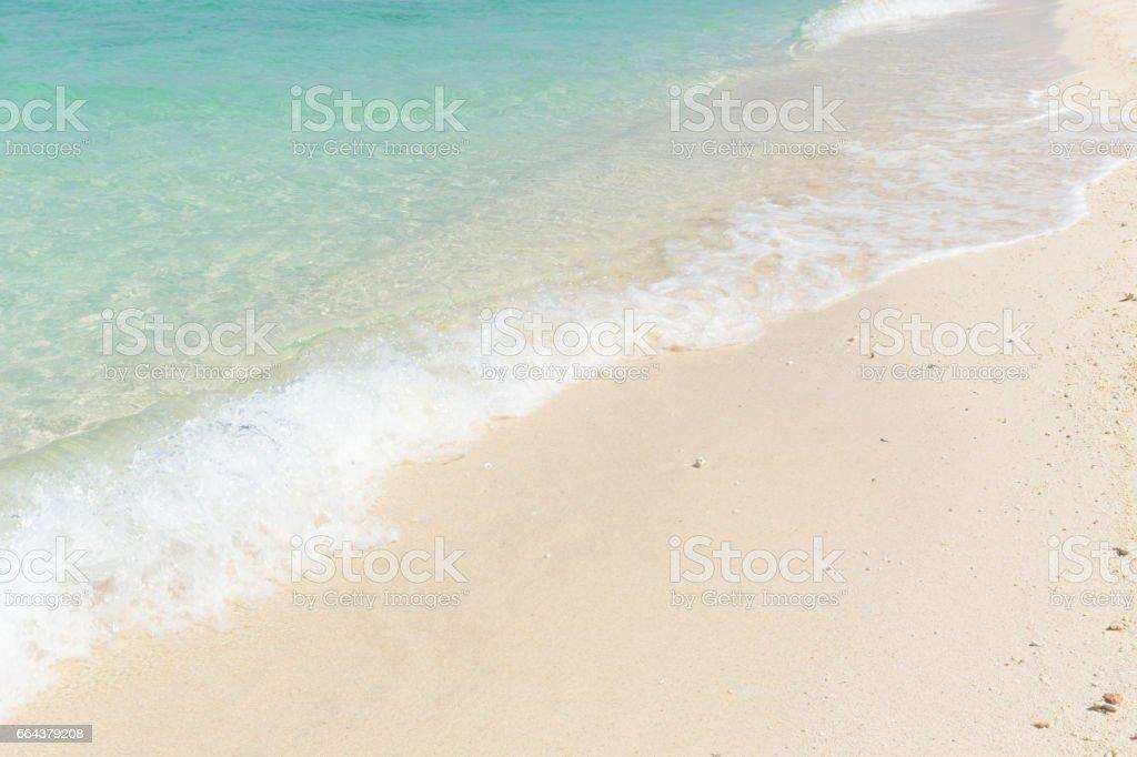 white sand blue emerald sea beach for background. stock photo