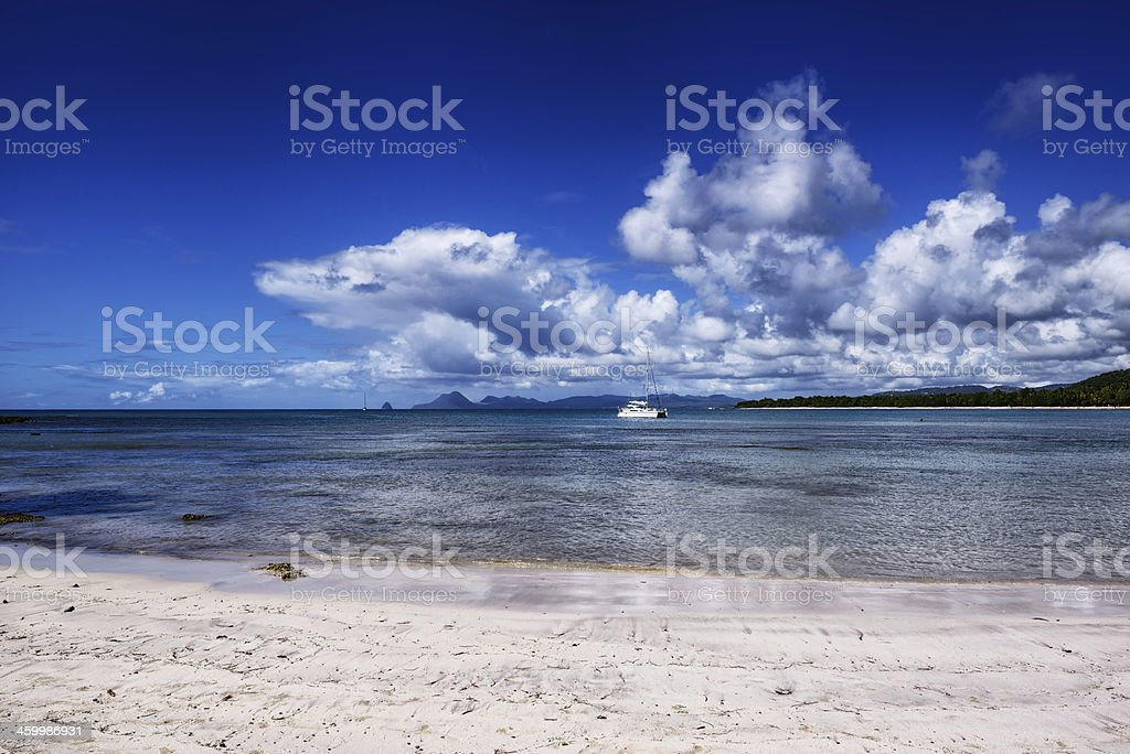 White Sand Caribbean Beach,  Martinique stock photo
