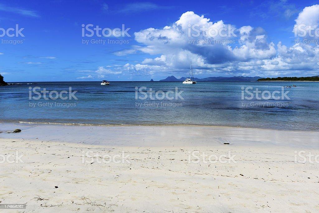 White Sand Caribbean Beach on Martinique stock photo