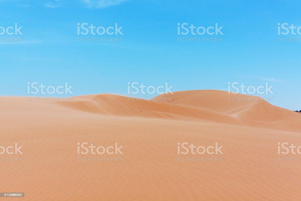 White sand dunes on sunrise, Mui Ne, Vietnam stock photo