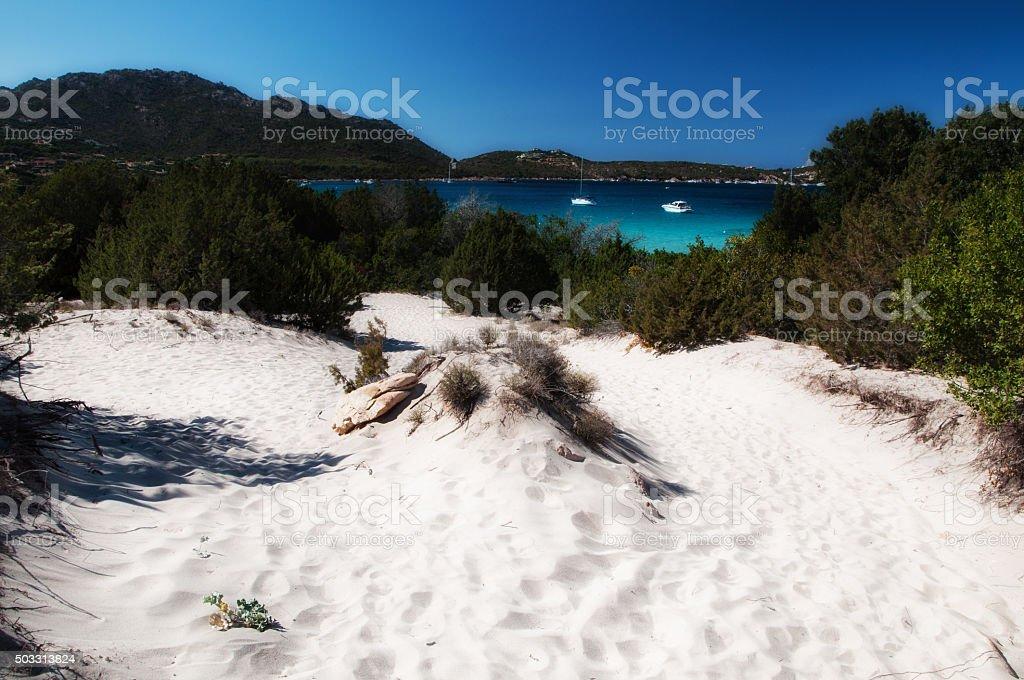 White sand in big pevero beach stock photo