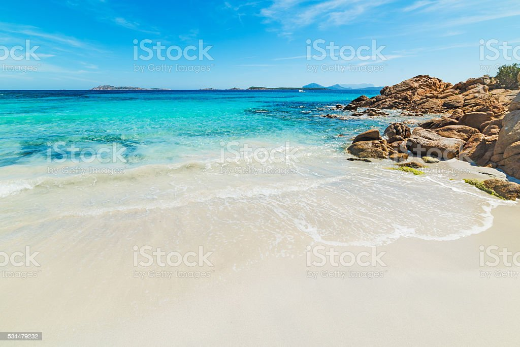 white sand in Capriccioli beach stock photo