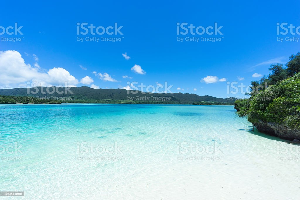 White sand tropical beach of Southern Japan, Ishigaki Island, Okinawa stock photo