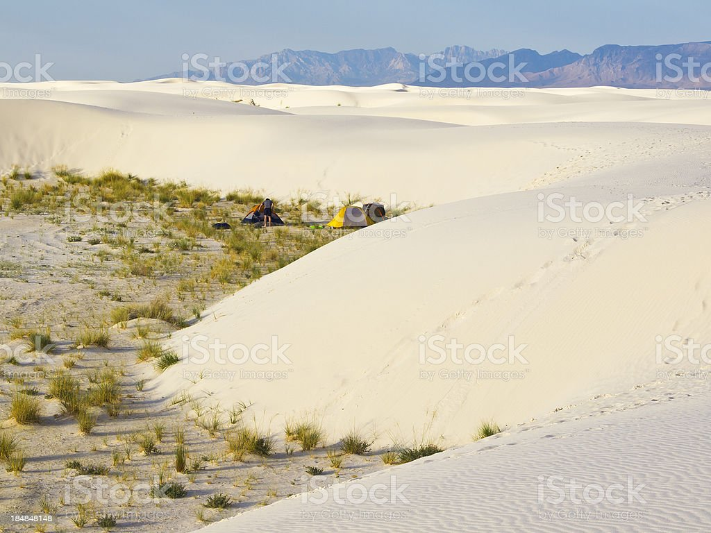 White sands camp stock photo