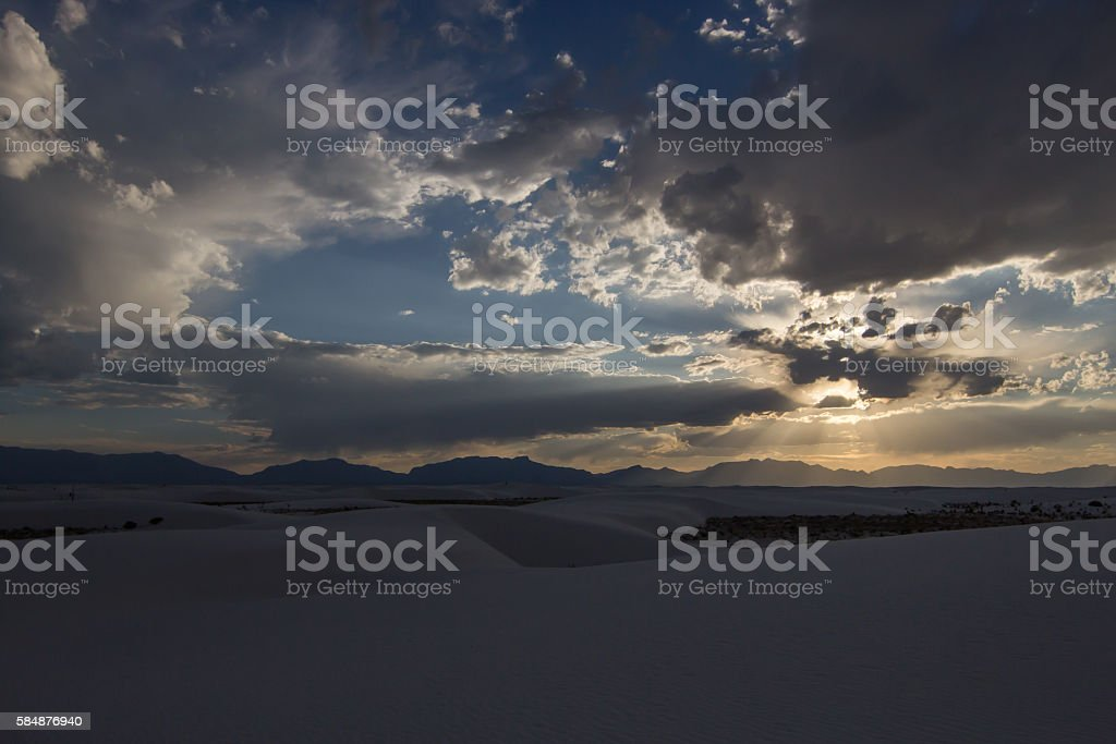 White Sands Monument Sunset stock photo