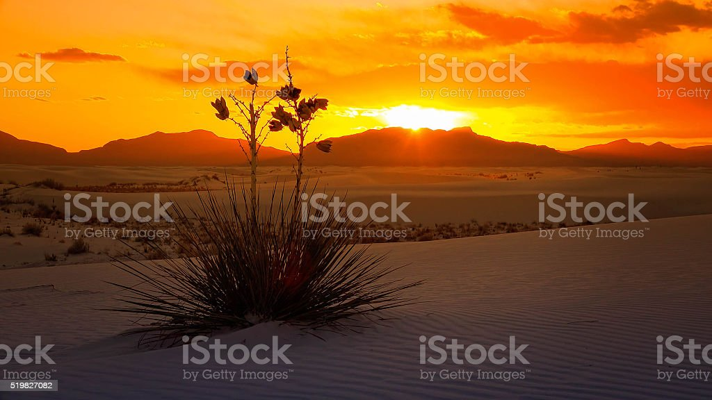 White Sands National Monument Sunset, New Mexico stock photo