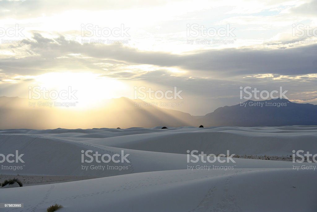 White Sands Sunset stock photo