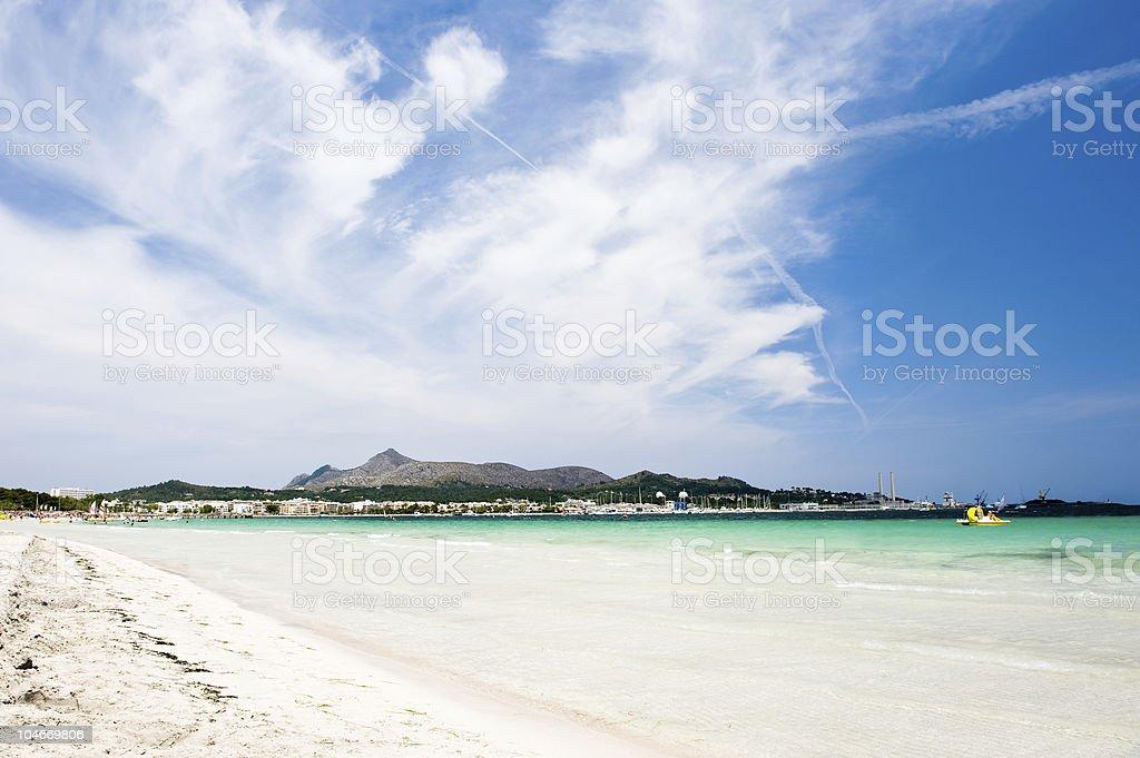 White sandy beach in Alcudia, Spain stock photo