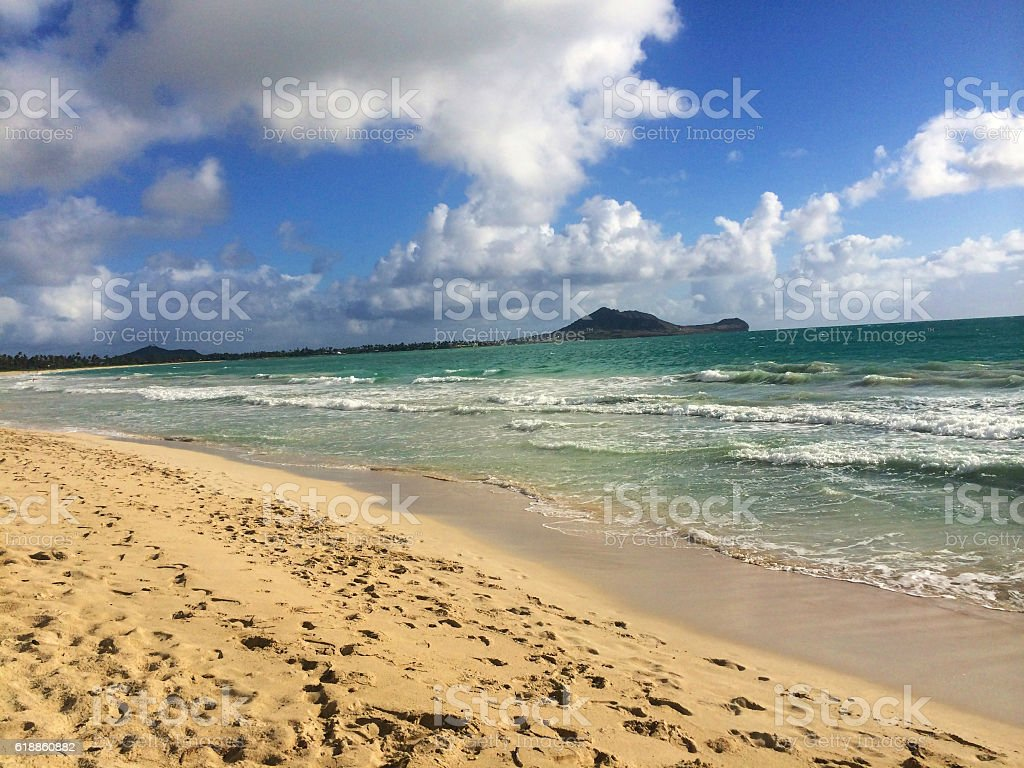 White Sandy Secluded Beach with Turquoise Waters Island Living H stock photo