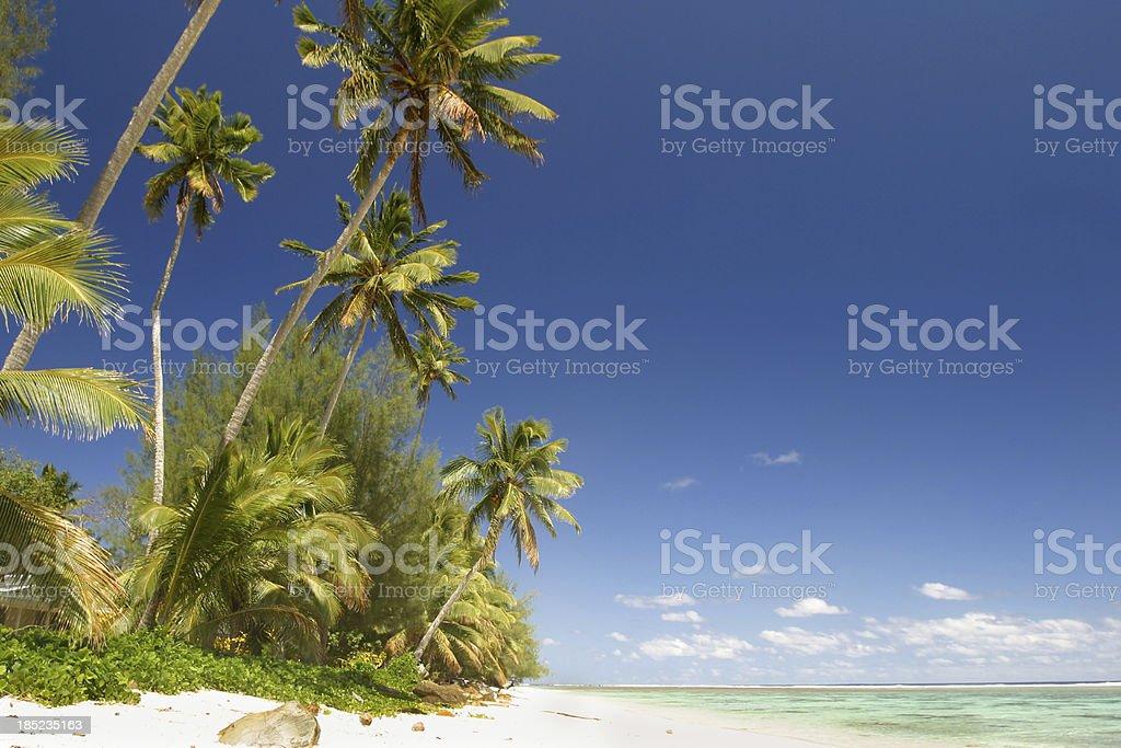 White sandy tropical beach, Rarotonga, South Pacific stock photo