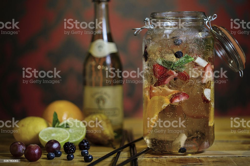 White Sangria in a Jar stock photo