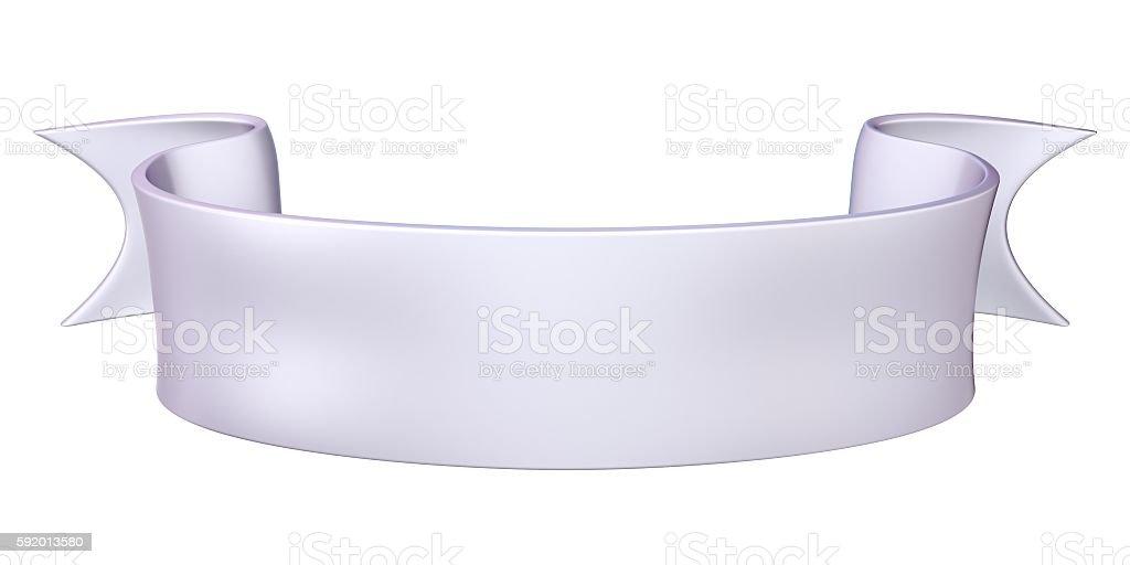 White satin ribbon tag label. 3D stock photo
