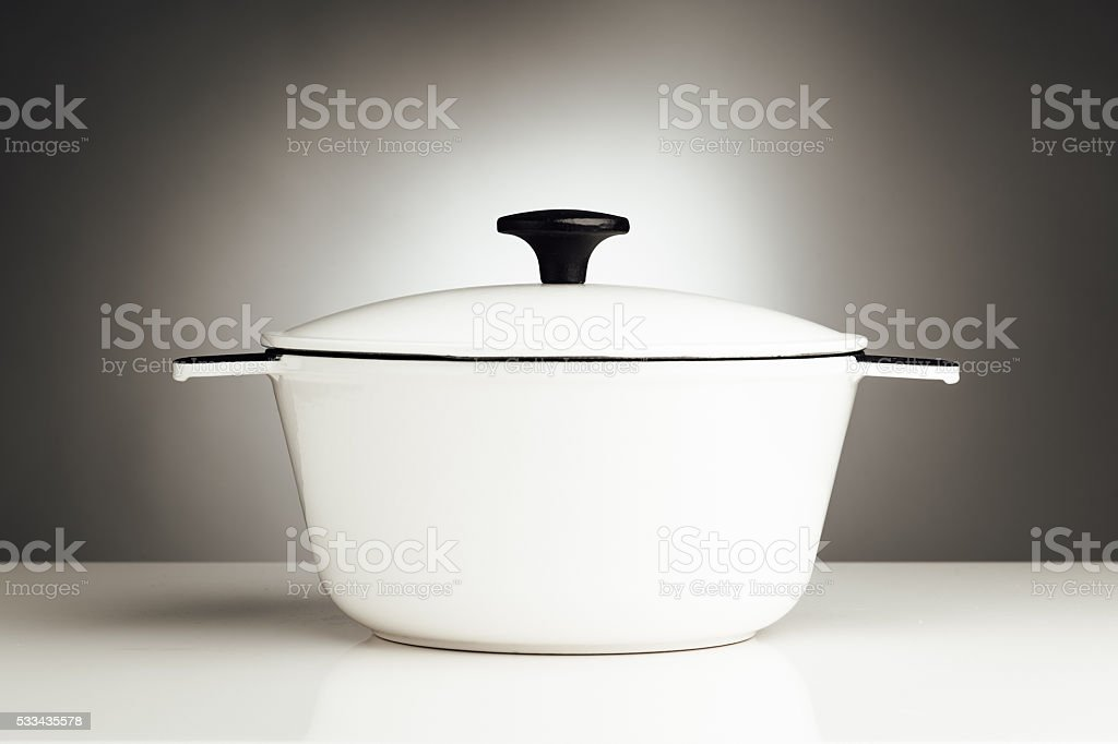 white saucepan, kitchen pot stock photo