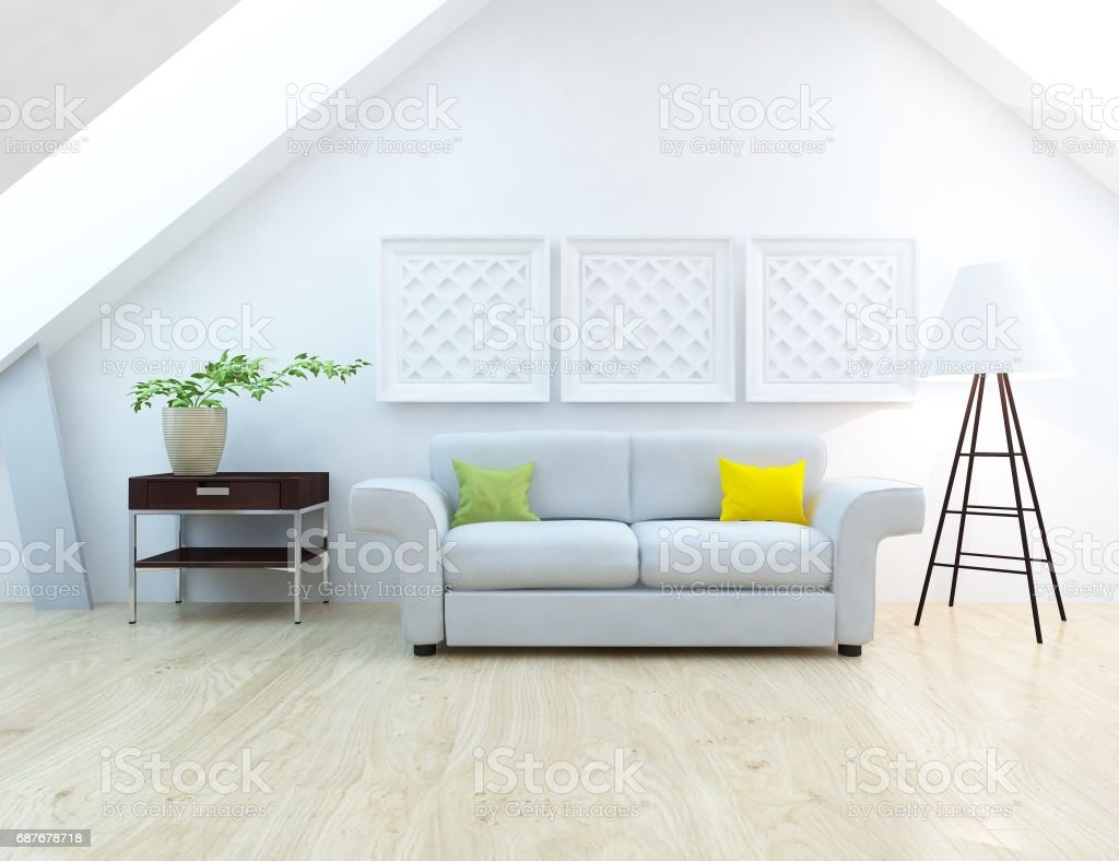 white scandinavian room interior with furniture stock photo