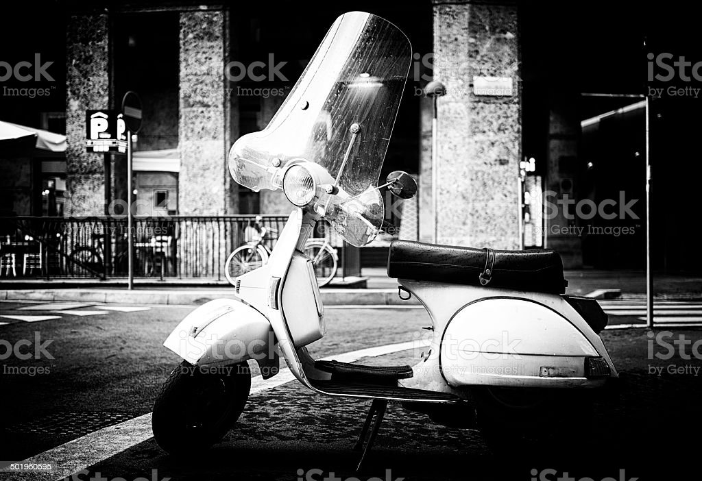 White scooter. Black and White stock photo