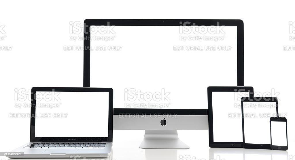 White screen Apple computers stock photo