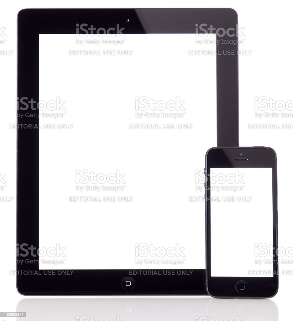 White screen Apple iPad 2 and iPhone 5 stock photo
