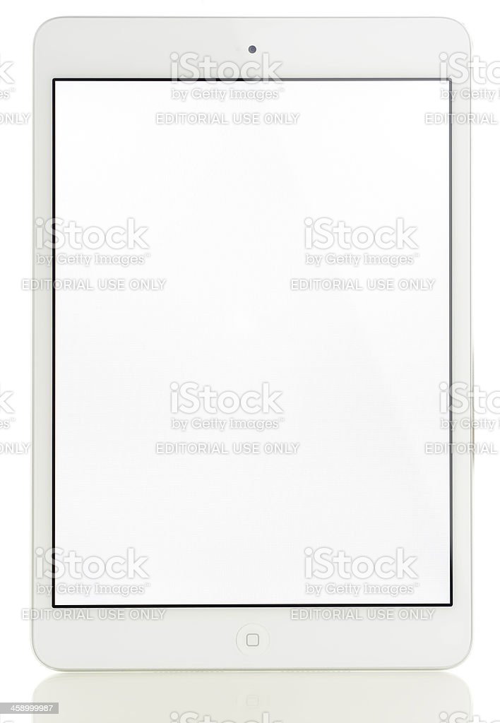 White screen Apple iPad Mini royalty-free stock photo