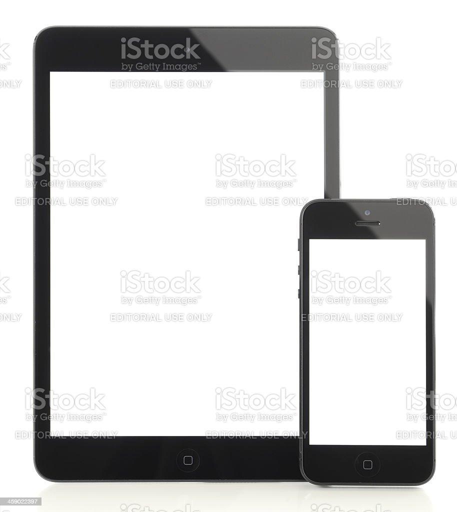 White screen iPad Mini & iPhone 5 royalty-free stock photo