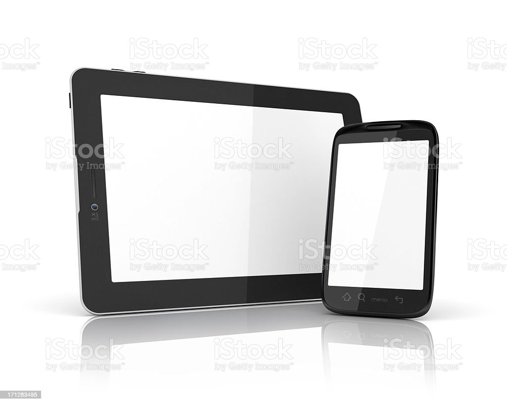 white screen of tablet and mobile royalty-free stock photo