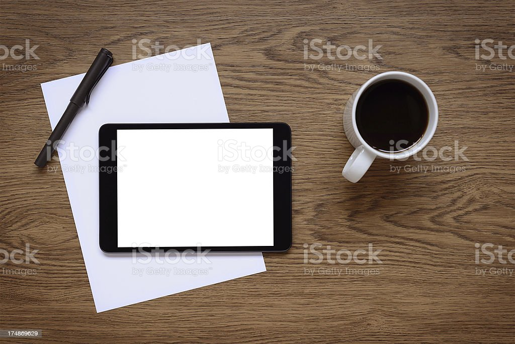 White screen tablet pc  on desk royalty-free stock photo
