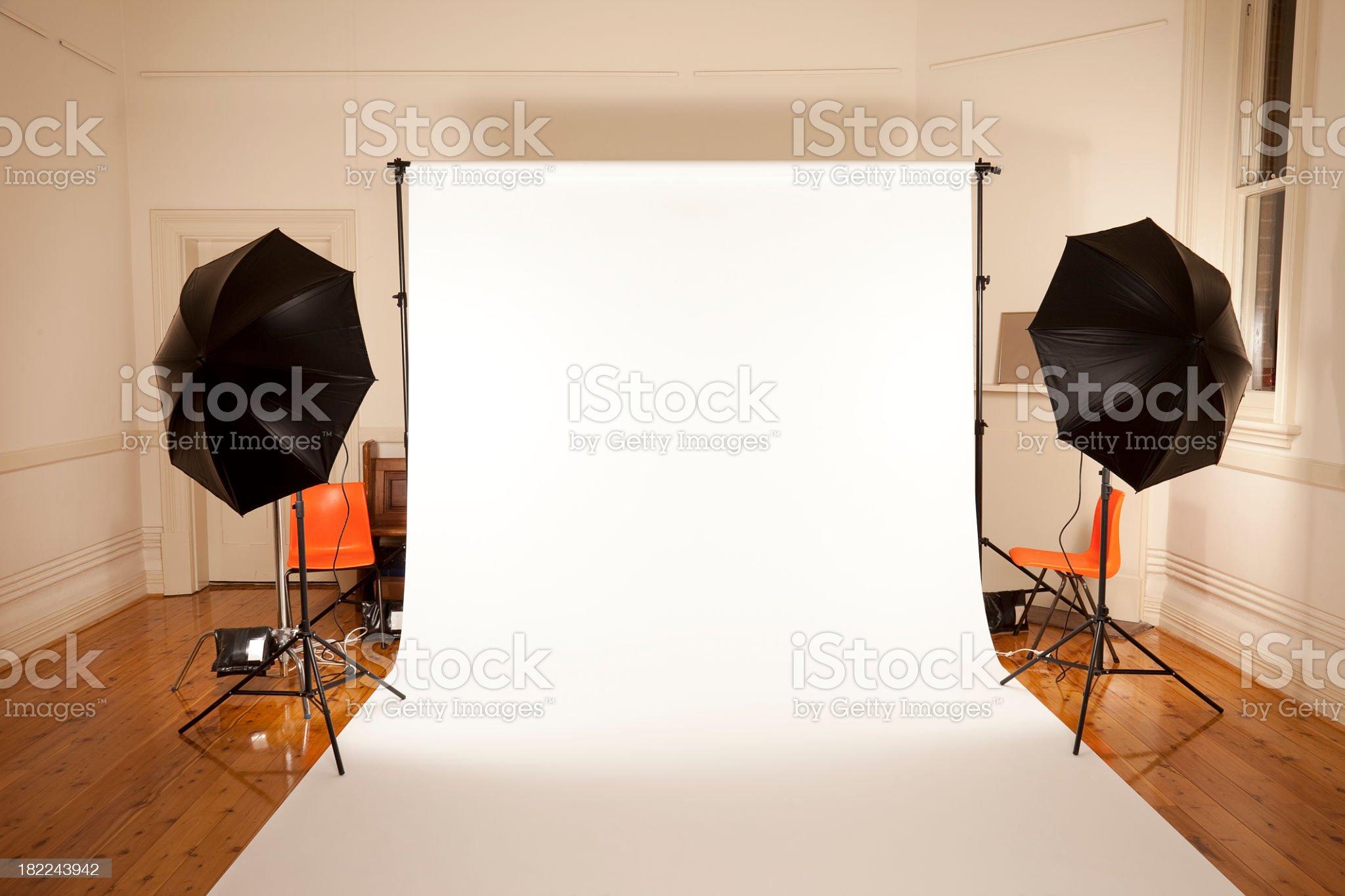 White seamless back drop studio set up royalty-free stock photo