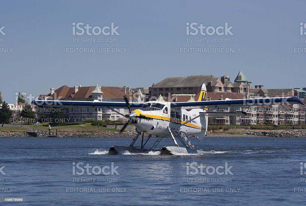 White Seaplane landing royalty-free stock photo