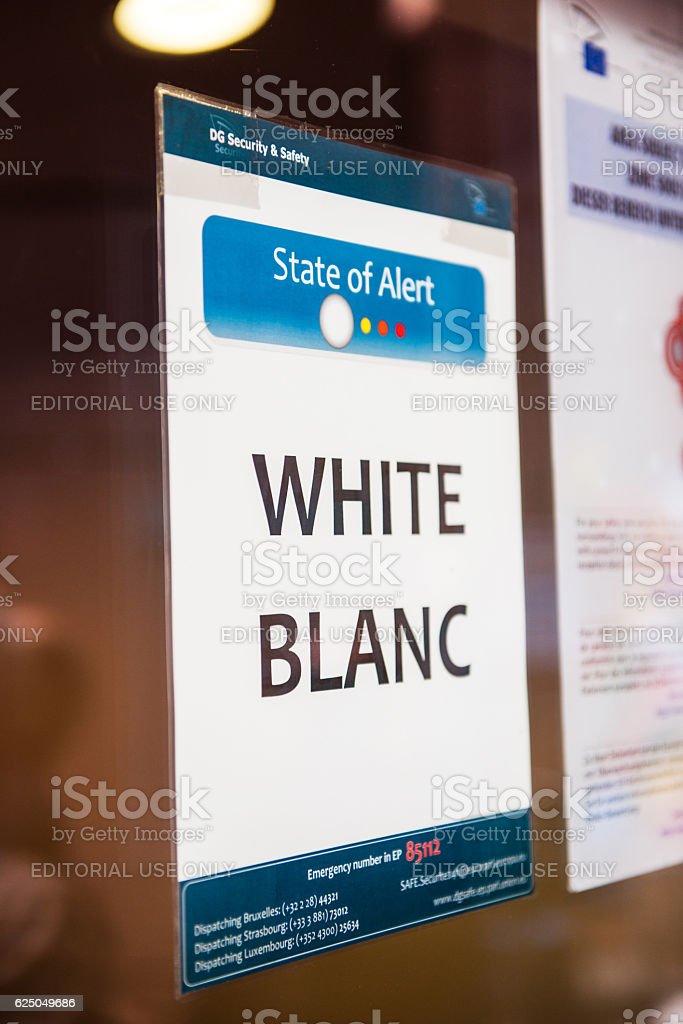 White Security code alert European Parliament stock photo