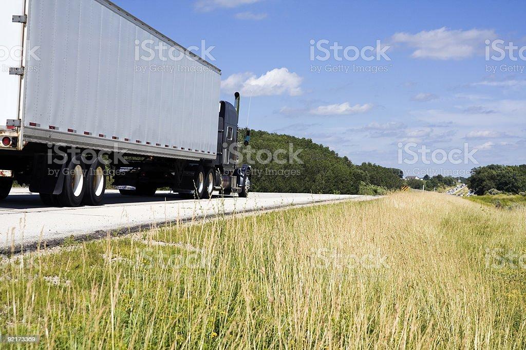 White Semi on the road stock photo