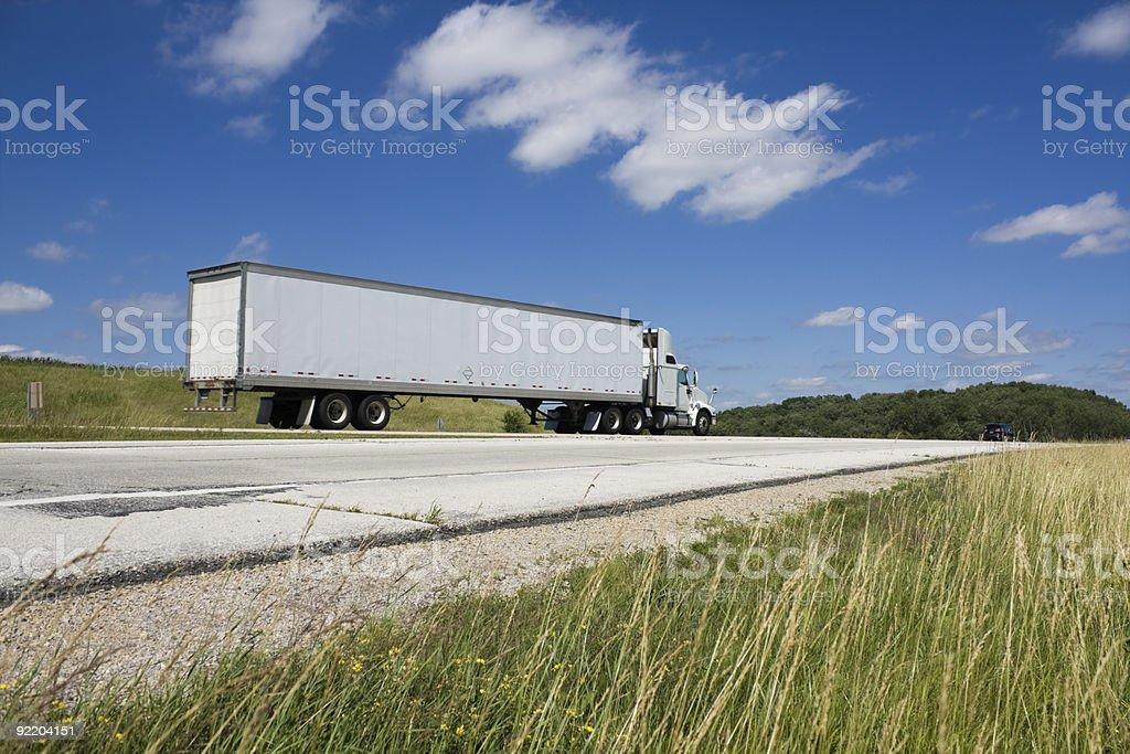 White Semi on the road royalty-free stock photo