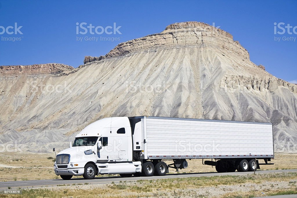 White semi truck royalty-free stock photo