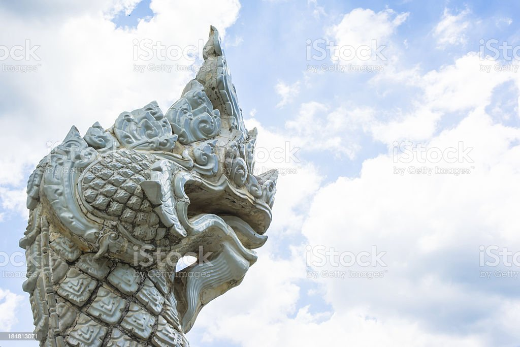 white Serpent of asia style on blue sky stock photo
